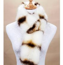 winter warm faux fox fur raccoon scarf multi color unique pattern fur collar  print fur scarves women fashion winter scarf