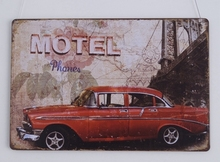MOTEL RE CAR Tin Sign Bar pub home House Cafe Restaurant Wall Decor Retro Metal Art sticker Poster