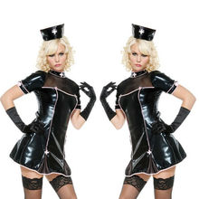 Buy NEW Top Quality Lady Sexy PVC Leather Latex Nurse Dress Bodycon Catsuit Bondage Clubwear Pole Dance Costume
