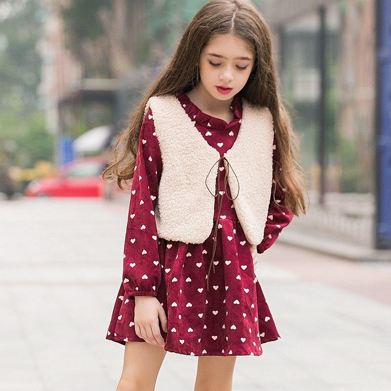 LouisDog Girls Princess Autumn Winter Dress Cute Childrens Dresses Loose Long Sleeve Dress+Vest 2PCS for Teen Girl Age 10 11 12<br>