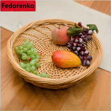 Nature wicker fruit basket nuts plate fruteira de mesa storage cestas gift organizer bread snacks trays for food bandeja kitchen(China)