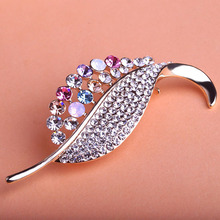 Blucome Brand Leaves Plant Brooches Crystal Coroa Collar Pin Hijab Pin Up Women Perfume Clip Scarf Cartoon Broche Broach Bijoux(China)