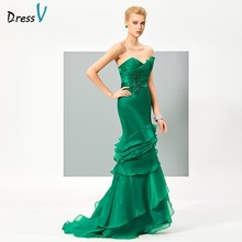 DressV green tiered long mermaid evening dress sweetheart beading sequins zipper up plus size women evening gowns party dresses(China)