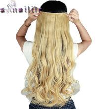 "S-noilite 61CM 24"" baby blonde Curly Long Women 3/4 Full Head Clip in Hair Extensions Real Thick Synthetic hairpiece for human(China)"
