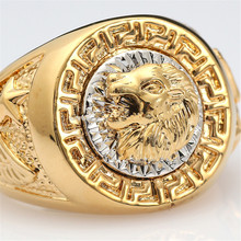 2017 Top Selling Jewelry Fashion Rings for Men Cool Lion Eagle Star Gold-color Ring Jewelry Size 8-12 Men Rings for Wedding(China)