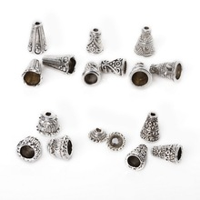 Antique Silver Plated Necklace Cord Caps Engraved Cone Beads Caps End Caps For Jewelry Making DIY Accessories 86pcs/lot