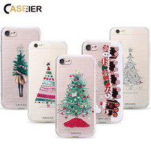 CASEIER Phone Case For iPhone 7 8 Plus Soft TPU Merry Christmas Cover For iPhone 7 8 Plus Relief Silicone Winter phone Case Capa