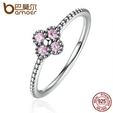 BAMOER 2 Color 100% 925 Sterling Silver Pink & White Clear CZ Romantic Clover Ring Women Fashion Jewelry PA7197(China)