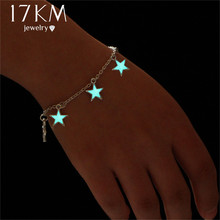17KM Blue Luminous Star Pendant Bracelets For Women 2017 New Pretty Statement Bracelet Bangles pulseira feminina Party Jewelry(China)