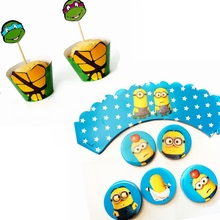 New 24 pcs Despicable Me Minions Teenage Mutant Ninja Turtle Paper Cupcake Wrappers Toppers Kids Birthday Party cake Decoration
