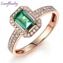 New Vintage Emerald Cut 4x6mm 18kt Rose Gold Natural Diamond Emerald Engagement Ring WU217