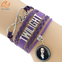 Infinity bracelet, Purple leather ,Time Stone bracelet, infinity Movie Twilight bracelet, braid leather