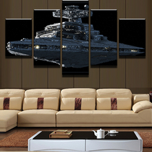 Wall Art Posters and Prints 5 Piece Star Wars Imperial Battleship Star Destroyer Painting Modern Home Decor Canvas Wooden Framed(China)