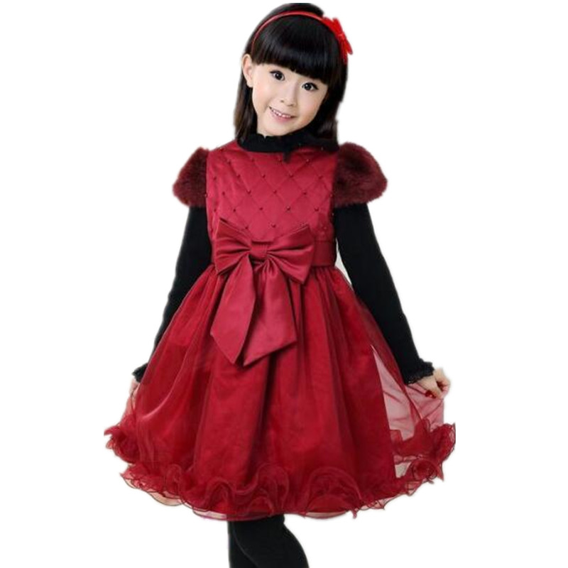 2016 new fashion hot sale!baby girls winter warm dress girls christmas red tutu dress high quality lace princess dress<br><br>Aliexpress