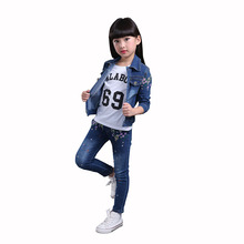 Buy Girls Clothing Set 2017 Autumn Children Fashion Cowboy Suit Kids Denim Coat & Jeans 2 Pieces Kids Clothes 6 8 10 12 14 Years for $25.25 in AliExpress store