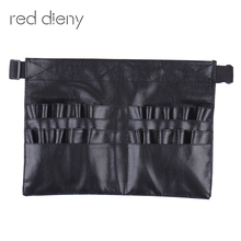 Black Two Arrays Makeup Brush Holder Professional PVC Apron Bag Artist Belt Strap Protable Make Up Bag Cosmetic Brush Bag(China)