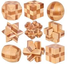 9PCS/LOT IQ Bamboo Interlocking Burr Puzzle Mini Size 3D Brain Teaser Game Toy for Adults Kids