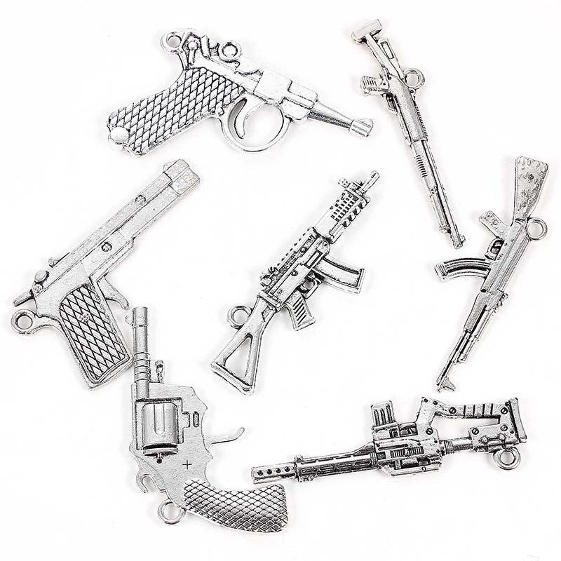 Wholesale Pistol 3D pendant beads BULK 30 Handgun Charms Antique Silver 11X22mm CM0947S