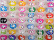 Mix Wholesale 20Pcs/lot Cartoon Resin Rings for Girls Mix Styles Children Kids Jewellery for Girls Cute Rabbit Rings Xmas Gift