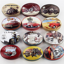 High Quality Oval Mac Cosmetics Organizer Motorcycle Picture Tin Box Tea Box 6Piece/Lot Jewelry Organizer Candy Pill Case