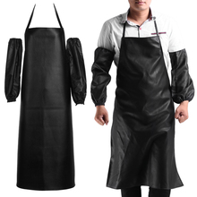 Hot Mens Womens Convenient Faux Leather Chef Apron Waterproof Kitchen Cafe Commercial Restaurant Cooking Aprons + Cuff(China)