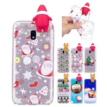 3D Christmas theme Cartoon Elk Soft TPU Silicon Case For Samsung Galaxy J3 2017 J330 J330f mobile phone case Back Cover coque(China)