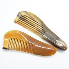 New Mustache Combs Natural Amber Ox Horn Comb Of Hair No Static Health Care Hair Brush Hairdressing Comb