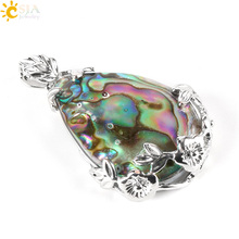 CSJA New Zealand Abalone MOP Shell Alloy Teardrop Pendant Bead Natural Gem Water Drop Paua Necklace Women Men Reiki Jewelry E460
