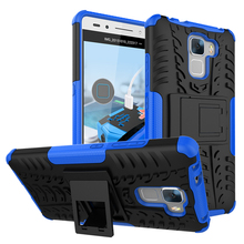 For Honor 7 Heavy Duty Silicone Armor Case For Huawei Honor 7 Kick-Stand Impact Hybrid Hard Cover Shock Absorbing Phone Cases