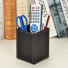Leather Square Remote Control Pens Pencils Holder Desk Organizer Office Desk Accessories