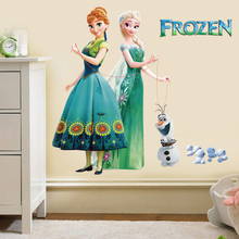 3D Aisha/Anna Cartoon Wall Stickers Children Room Decorative Wall Sticker Removable Stickers Home Decor Waterproof PVC Paper