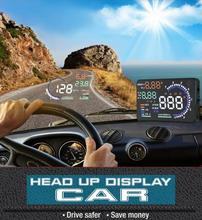 "5.5"" Car HUD Head Up Display OBD2 Fuel Consumption Speed Warning System New High Brightness Screen"
