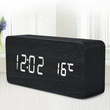 Wooden LED Desktop Clock Alarm Clock with Old Style Temperature Sound Control Calendar LED Electronic Digital Table Clock Wood(China)