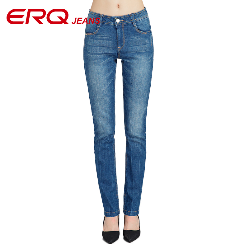 ERQ New Mid Waist Jeans Slim Fit Trousers Skinny Jeans Female Pencil Pants Woman Jeans Womens Slim Fashion Denim 902011Îäåæäà è àêñåññóàðû<br><br>