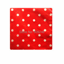 80pcs Christmas Birthday Wedding Decoration White Polka Dot Red Paper Napkins,3 Days Delivery on Orders over $100
