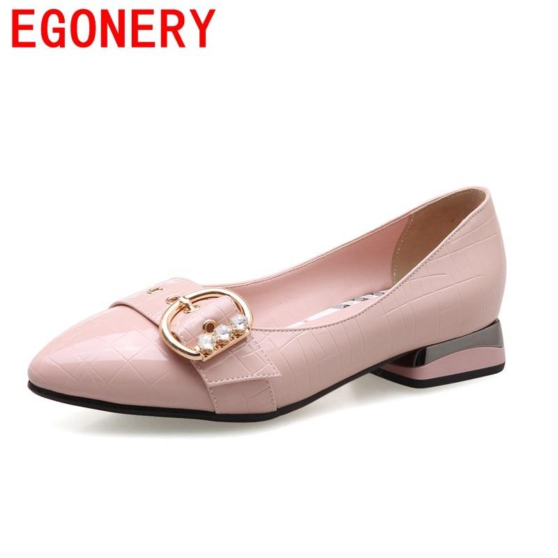EGONERY 2018 hot sale fashion pointed toe sweet light elegant convenient pumps concsie low heels breathable shoes for woman<br>