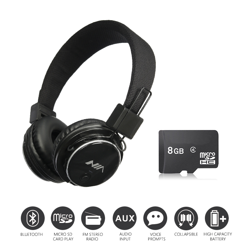 Economic Set: Original NIA Q8 + 8 GB Micro SD Card a Set Stereo bluetooth headphone wireless sport Foldable Headsets with Microp<br>