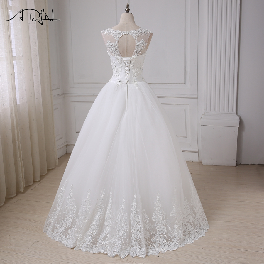 ADLN Vintage Wedding Dresses Cap Sleeve Sequins Applique Elegant Wedding Gowns Vestido De Novia Lace-up Back Custom Made 4