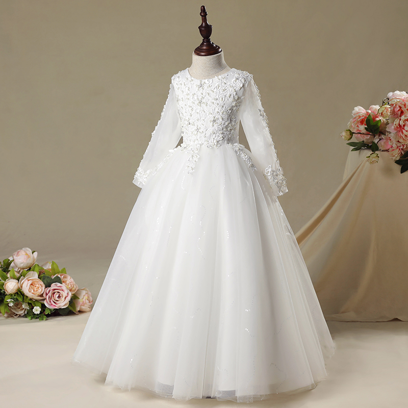 New Girl Wedding Dress Elegant Sequin Children Clothing Long Sleeve First communion Gown Princess Tutu Flower Girl Dresses
