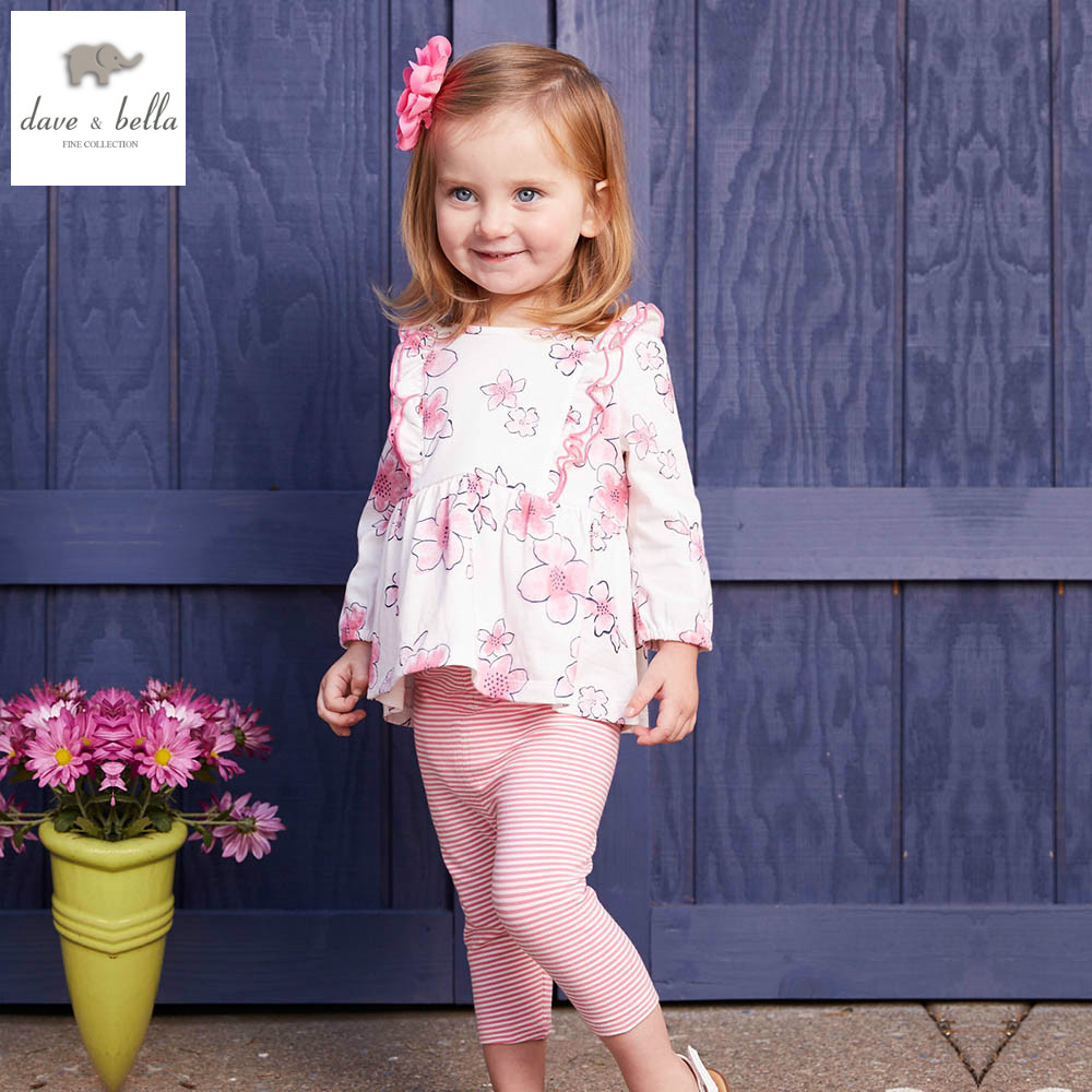 DB4370 dave bella spring fall baby girls pink leopard clothing set sports set boutique clothes floral clothing sets<br>