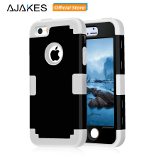 AJAKES Case for iPhone 5s Shockproof Hybrid Impact Hard PC & Soft Silicone Cases for iPhone SE / iPhone 5 5S with Screen Film(China)