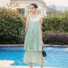 VOA light green sleeveless silk dress and both sides can wear double thin silk dresses A5792