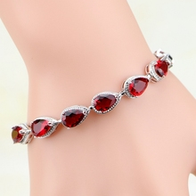 Buy High Water Dorp Red Garnet 925 Sterling Silver Jewelry Charm Bracelet Christmas Gifts Women Free Gift Box S031 for $8.57 in AliExpress store