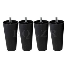 4x Round Tapered Black Plastic Furniture Legs for Sofa 135x 68 x 44mm BQLZR