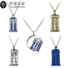 Dr. Mysterious Police Box House Alloy Pendant & Neckalces Doctor Who Necklace Halloween Pendants Movie Jewelry Christmas Gift(China)