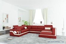 Free Shipping Modern Sofa U shaped, Passion Red hot sale Genuine leather sofa set, excellent design sofa S8710
