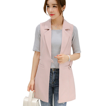 Spring Vest Women Wool Blend Coat Waistcoat Ladies Office Wear Long Waistcoat Casual Sleeveless Vest Jacket Plus Size