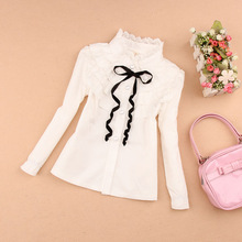 2017 Spring kids clothes girls blouse children clothing school girl white blouse lace collor 100% cotton child shirt age 2-16Y