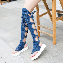 YMECHIC Summer Denim Platform Shoes Gladiator Sandals Women Blue Black Cross Strap Over Knee High Gladiator Sandals Lady Boots(China)