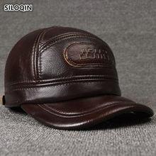 SILOQIN tamaño ajustable de Cuero 100% genuinos de los hombres de invierno  cálido gorras de béisbol con orejeras de piel de vaca. 540ff024fb2
